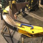 New petal in position being welded